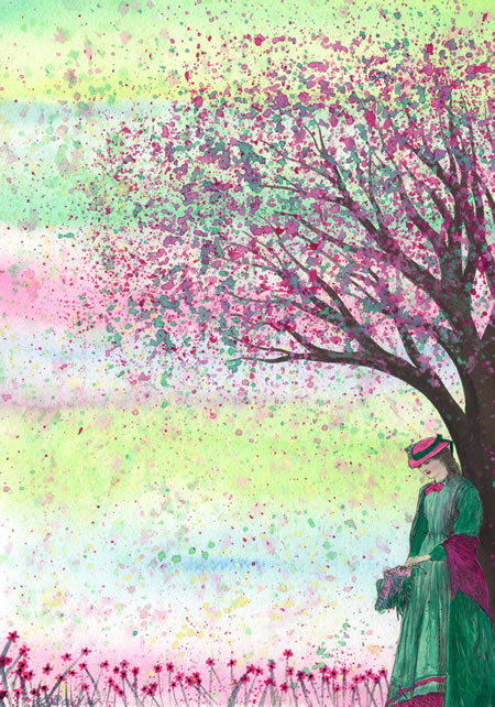 And Spring Arose - original watercolour and collage by Kirsten Bailey