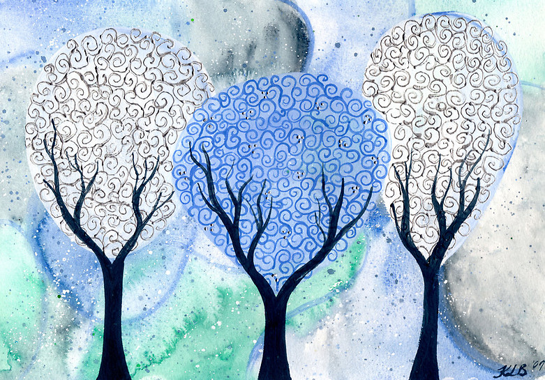 Silver White Winter - original watercolor painting by Kirsten Bailey