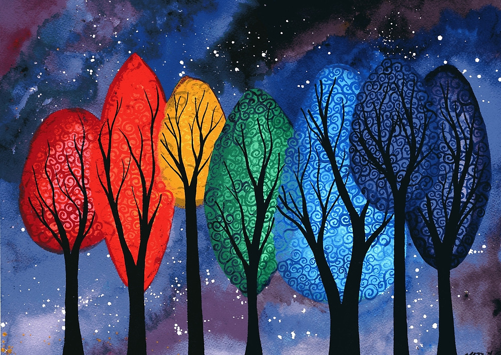 Night Colour - original watercolour painting of swirly rainbow trees by KL Bailey Art