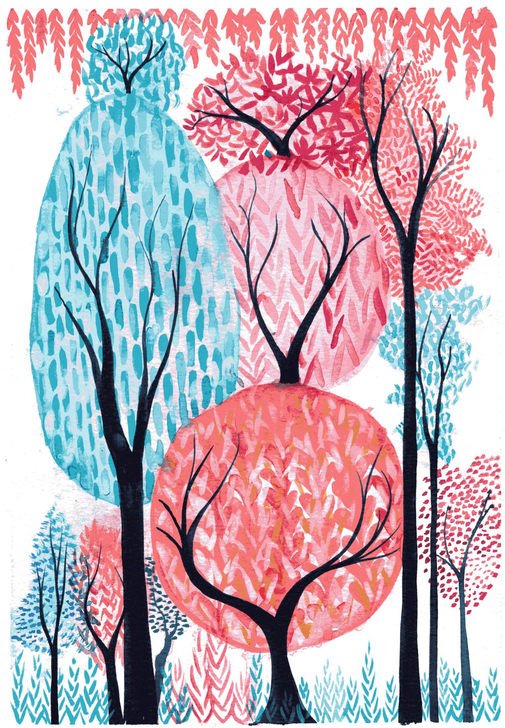 Watercolour painting of coral and turquoise trees by Kirsten Bailey